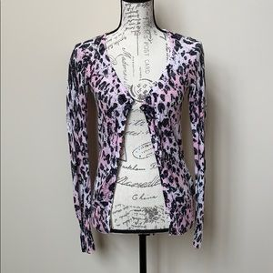 Guess Button Up Pink Leopard Cardigan Size M